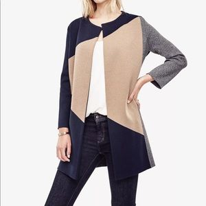 $149 Ann Taylor Colorblock Drape Sweater Coat